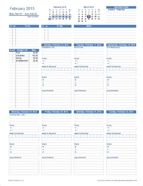 printable planner personal ultimate personal planner template for excel