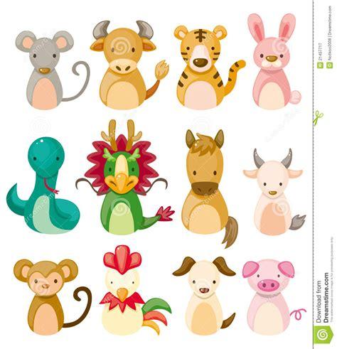 new year 12 zodiac animals 12 animal icon set zodiac animal stock vector