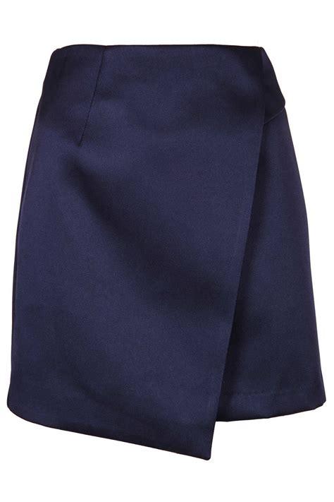 topshop navy satin wrap skirt in blue lyst