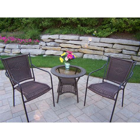 Wicker Patio Dining Set Shop Oakland Living Resin Wicker 3 Glass Bistro Patio Dining Set At Lowes