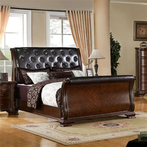 Cherry King Size Bed Frame How To South Baroque Style Brown Cherry Finish Cal King Size Bed Frame Set Sergio C