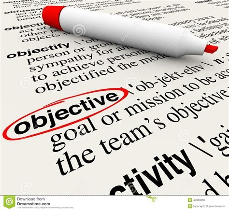 objective mission goal dictionary word definition circled stock illustration image 44863218