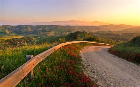 Roadmap To Your Fabulous by Italy Sunset Fabulous Landscape Road Nature