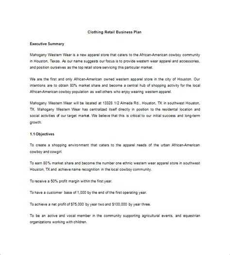 business plan template for retail store clothing store business plan template free viplinkek info