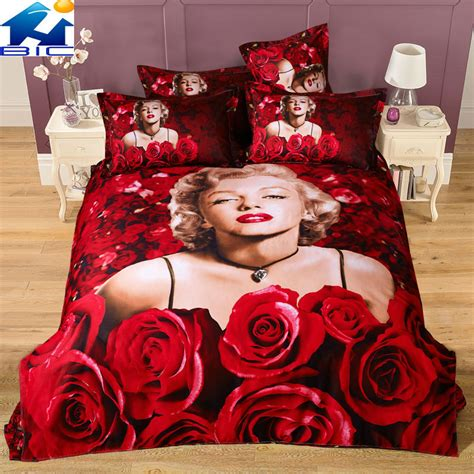 marilyn monroe comforter set queen red roses marilyn monroe 3d bedding sets 4pcs 100 cotton
