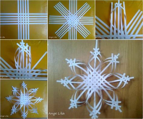 Snowflake Paper Craft - creative ideas diy 3d paper snowflake ornament