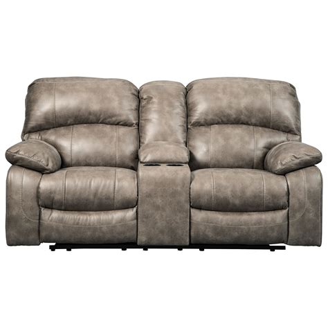 norfolk power reclining loveseat wconsole signature design by dunwell 5160218 faux leather