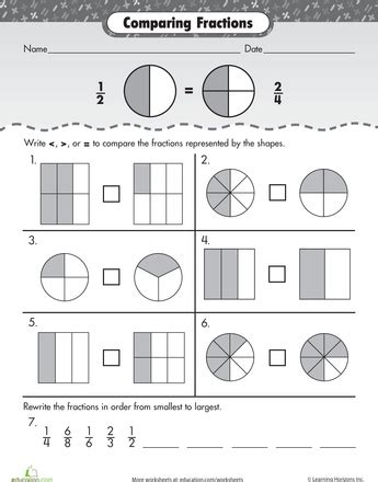 Comparing And Ordering Fractions Worksheets by Comparing And Ordering Fractions Worksheet Worksheets