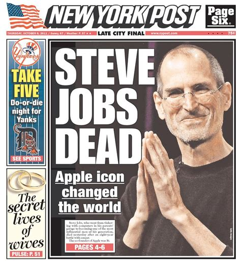 steve jobs death bed over 100 newspaper front pages around the world mourn