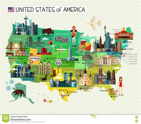 tourist map of united states of america united states icons vector illustration cartoondealer