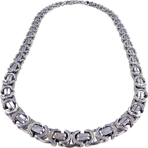 heavy italian pagoda sterling silver chain necklace from