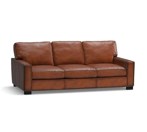 Leather Sleeper Sofa Turner Square Arm Leather Sleeper Sofa With Nailheads Pottery Barn