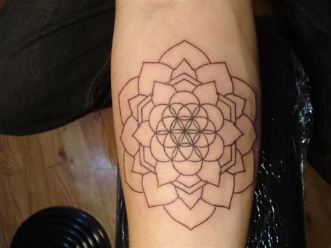 flower of life tattoo simple black contour flower of on arm
