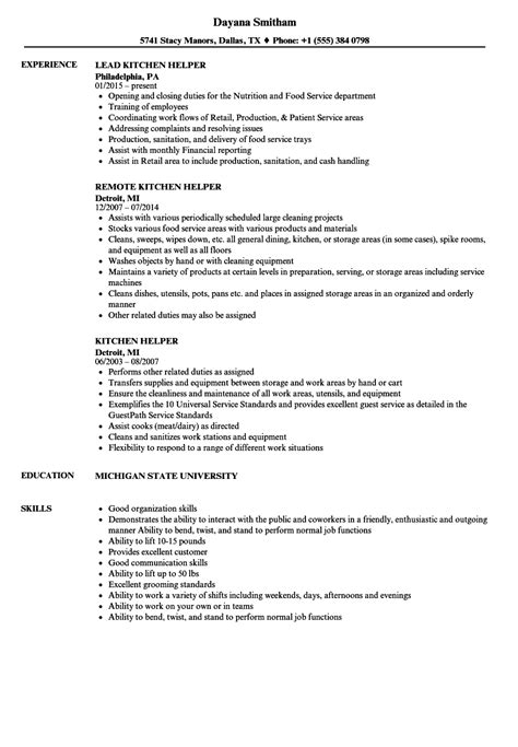 Resume Template Kitchen Helper by Sle Resume For Kitchen Helper Sanitizeuv Sle