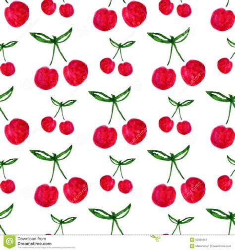 cherry pattern vector art seamless pattern with watercolor cherry endless print