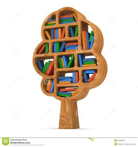 3d tree of knowledge bookshelf on white stock
