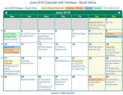 print friendly june  south africa calendar  printing