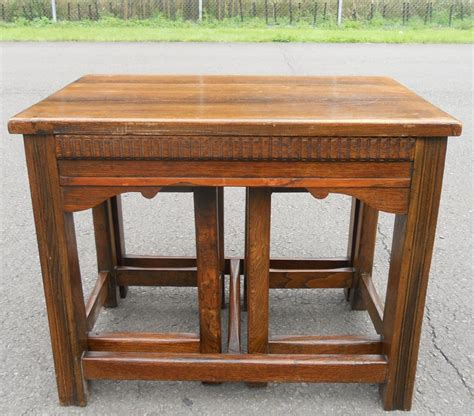 Coffee Table Vintage Style Antique Style Nest Of Three Oak Coffee Tables