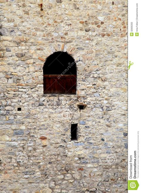 Gothic House Plans Window In Old Stone Wall Of Medieval Castle Stock Photos