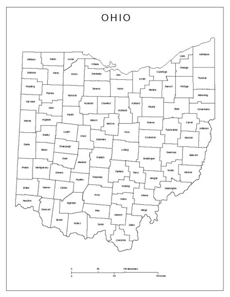 counties map with names ohio labeled map