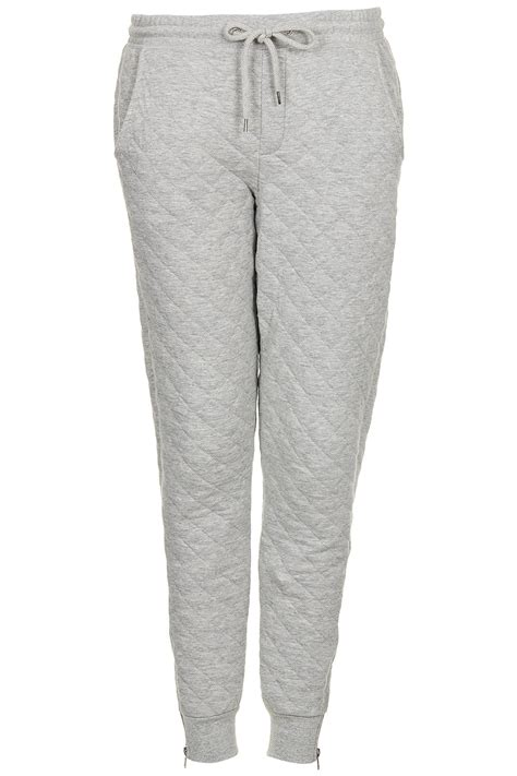 Cotton Lab Essential Jogger Soft Grey Lyst Topshop Soft Grey Quilted Joggers In Gray