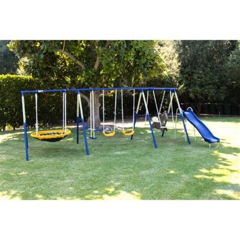 aluminum swing set sportspower outdoor super 8 fun metal swing and slide set
