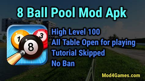 mod game of 8 ball pool 8 ball pool mod apk high level 100 all table open for