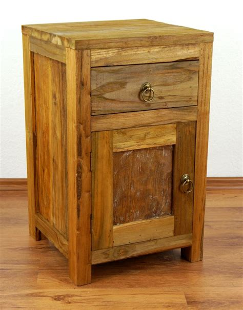 reclaimed teak wood bedside table rustic look small