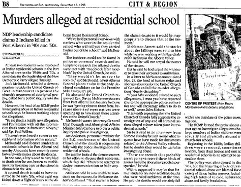 Indian Residential Schools In Canada Essays by Murders Alleged At Residential School