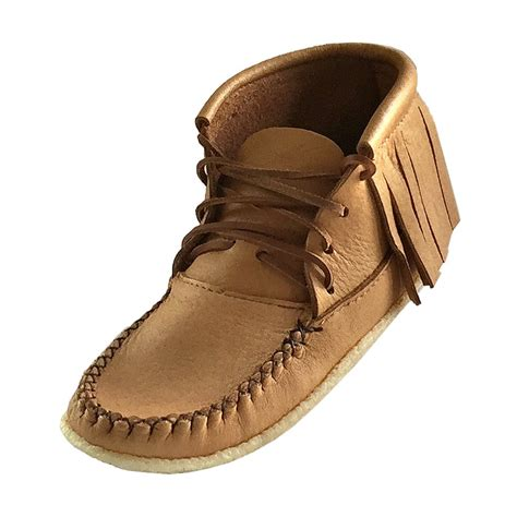 moccasins boots for women s crepe sole genuine moose hide leather fringed