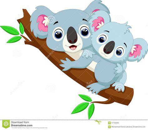 imagenes animadas koala cute koala cartoon on a tree stock illustration