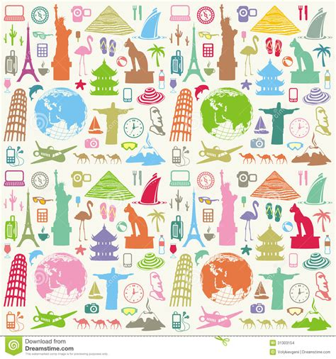 vector background pattern pack travel seamless background stock images image 31303154