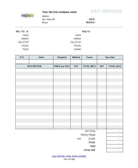 Free Template For Invoice For Services Rendered * Invoice