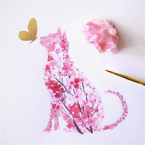 rosy watercolor cherry blossom animals by calvin t vuing com