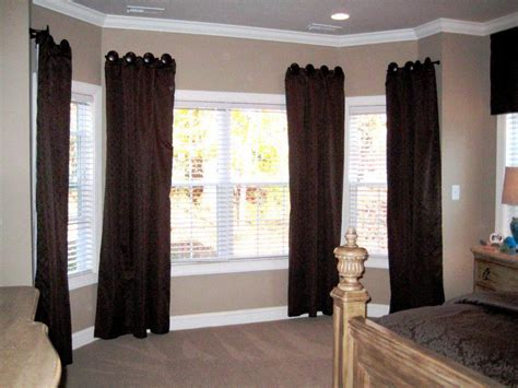 bay window pole suitable for eyelet curtains how to put eyelet curtains in a bay window curtain