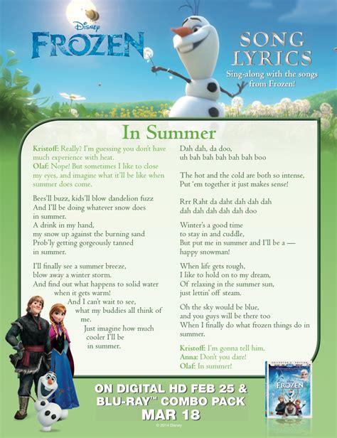 Printable Lyrics In Summer Frozen | frozen in summer lyric sheet frozen photo 36756145
