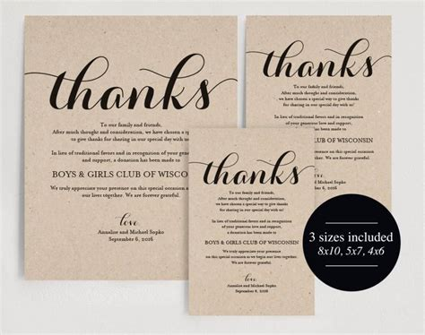 Thank You Note For Donation In Lieu Of Flowers In Lieu Of Wedding Favors Wedding Donation Sign Charity Printable Thank You Donation