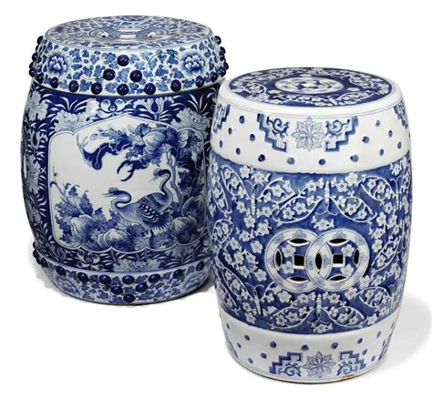 blue and white porcelain two chinese blue and white porcelain pierced barrel shaped