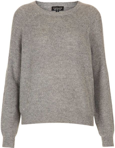 Preview Lupfer And Ashish For Topshop by Topshop Knitted Patch Jumper In Gray Grey Lyst