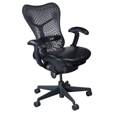Herman Miller Mirra Chair by Herman Miller Mirra Used Leather Seat Black National