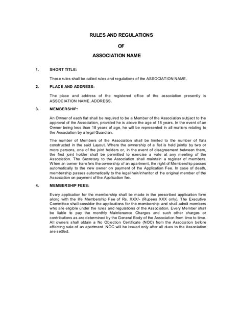 office and regulations template apartment association byelaws template