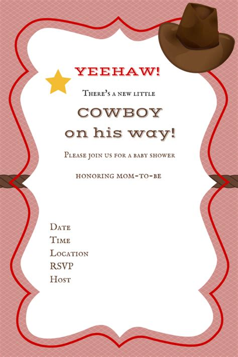 Free Printable Baby Shower Invitations Baby Shower Ideas Themes Games Free Western Baby Shower Invitation Templates