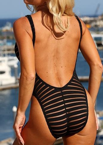 striped splicing backless sexy  piece swimsuit