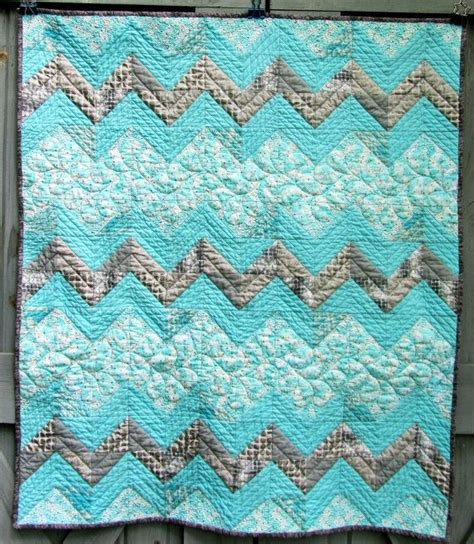 Aqua Quilt by Modern Baby Quilt Aqua And Gray Zig Zags