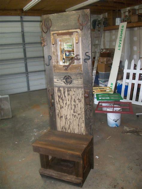 Hat Coat Rack With Bench Back Is Old Door Bench Is Fence Front Door Bench Coat Rack