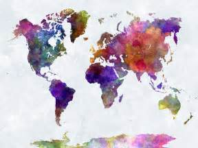 Wall Mural Prints world map in watercolorpurple and blue multicolour