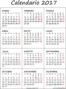 Calendario Para Descargar 2017 Calendario 2017 De Impresi 243 N Espa 241 Ol Imprimir El Pdf Gratis