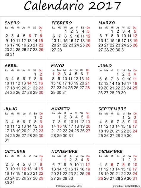 Calendario De Vacaciones 2017 Calendario 2017 Con Las Vacaciones Gratis Pinteres