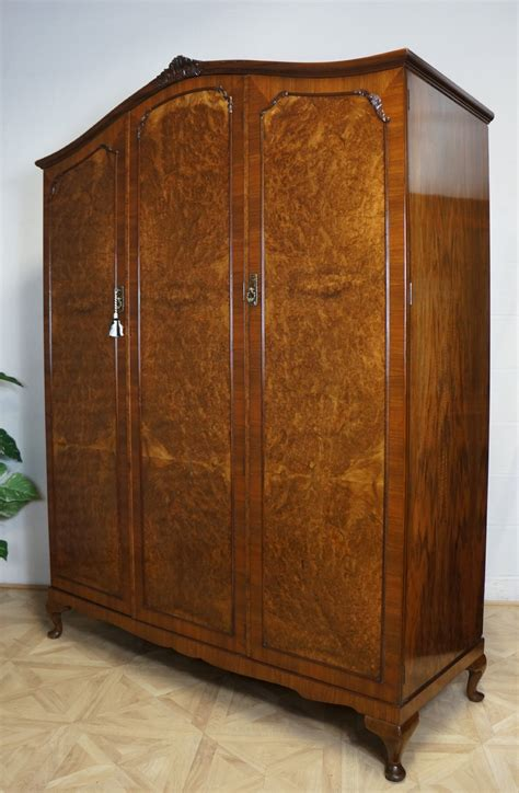 queen anne armoire queen anne french style fitted burr walnut triple wardrobe