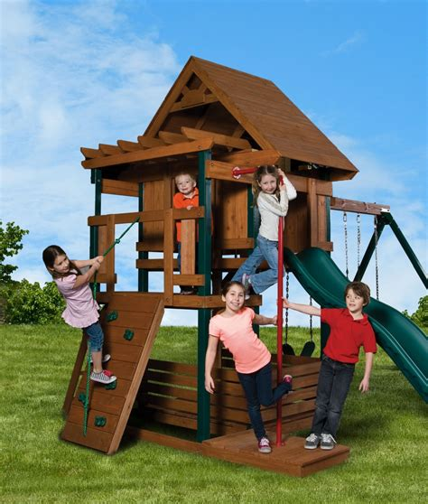 swing set with fireman pole wood swing sets can be fun for parents too